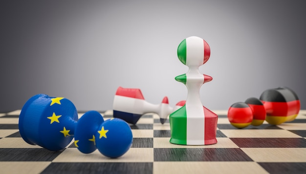 Chess pawns with italian, french german and european flag.