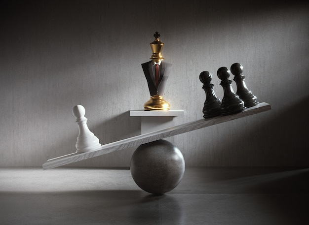 Chess pieces on a balance