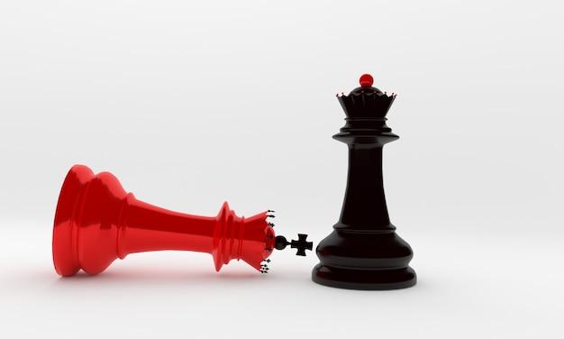 체스 조각 주교와 여왕 검정과 빨강