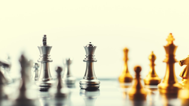 Chess pieces on the chessboard in vintage tones business strategy ideas strategic planning