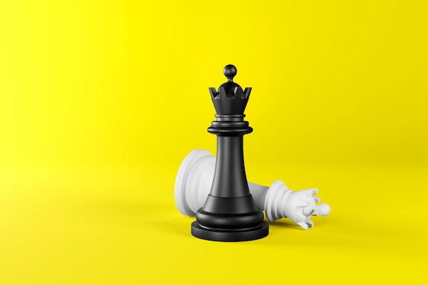 Chess pieces in the form of a black and white queen on an isolated yellow background.