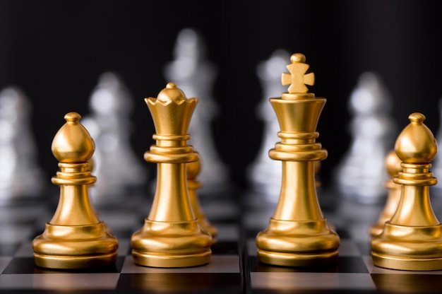 Chess set with enemy background