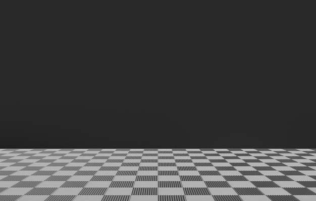 Chess square tiles on the floor with dark gray color wall as background.