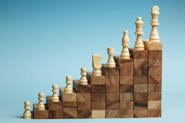 Шахматы, стоящие на пирамиде из деревянных строительных блоков. концепция карьерной лестницы, бизнес-иерархия с копией пространства.