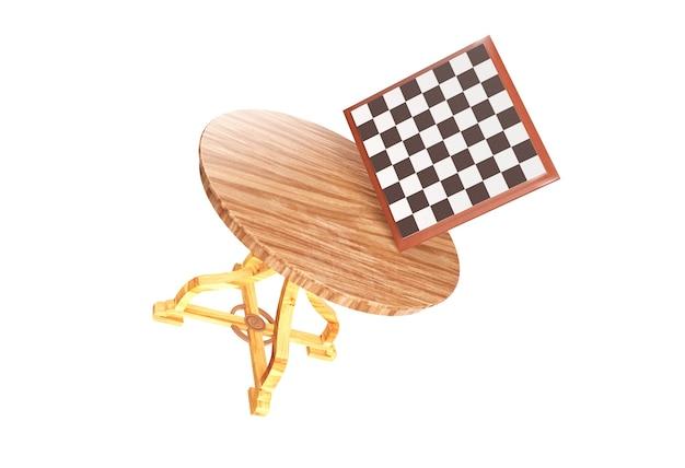 체스 테이블과 체스 보드 및 비행 3d 렌더링에서 많은 체스