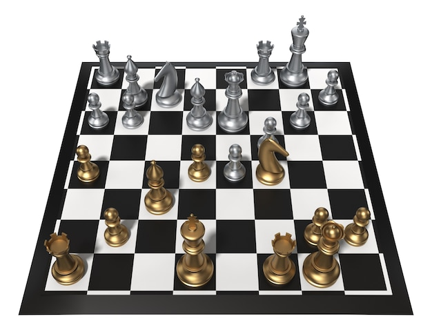Chess table with metal chess figures. isolated on white. three dimensional rendering.