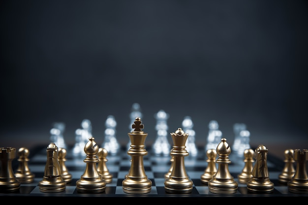 Chess team on chess board concept of business strategic plan