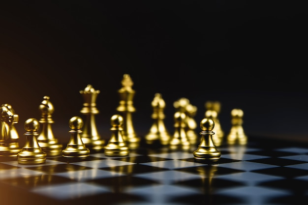 Chess that came out of the line concept of business strategic plan and teamwork.