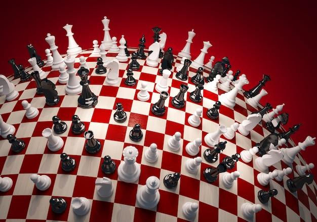 Шахматы белые и черные на шахматном поле большой сферы