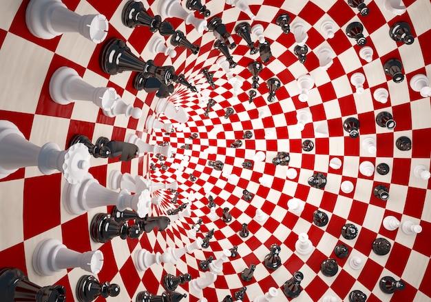 Шахматы белые и черные на шахматном поле туннеля