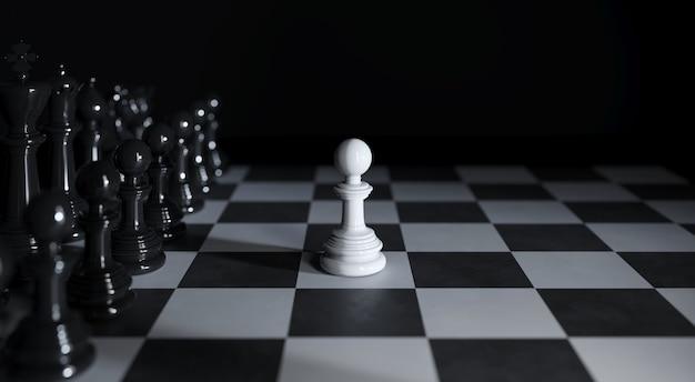 Шахматная белая лапа стоит среди различных черных шахматных фигур на 3d иллюстрации