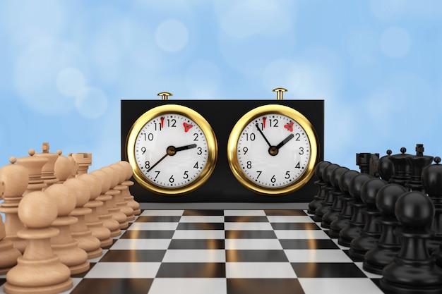 青い背景にチェス盤とチェス時計を備えたチェス。 3dレンダリング