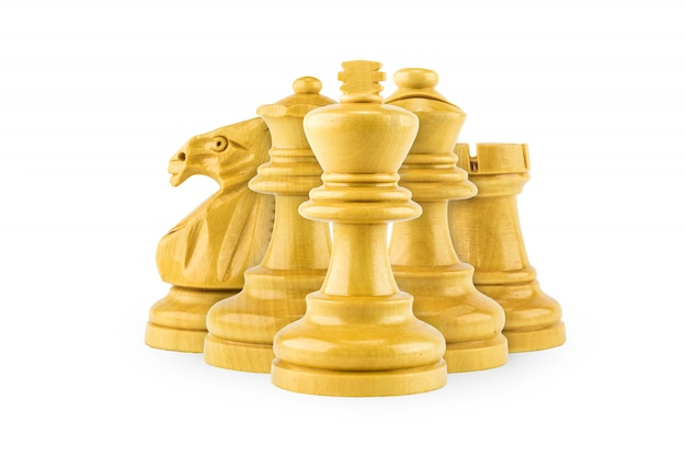 Chess wood on white background , selective focus