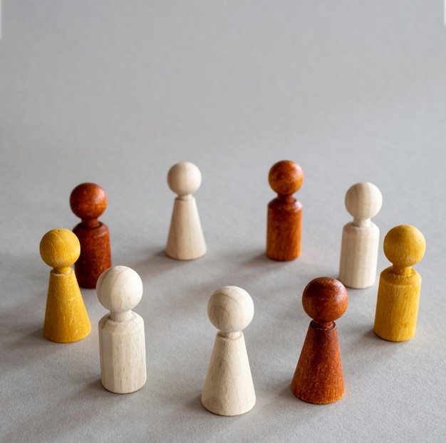 Chess wooden pieces arranged in circle