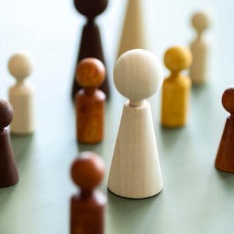 チェスの木製ピースのクローズアップ