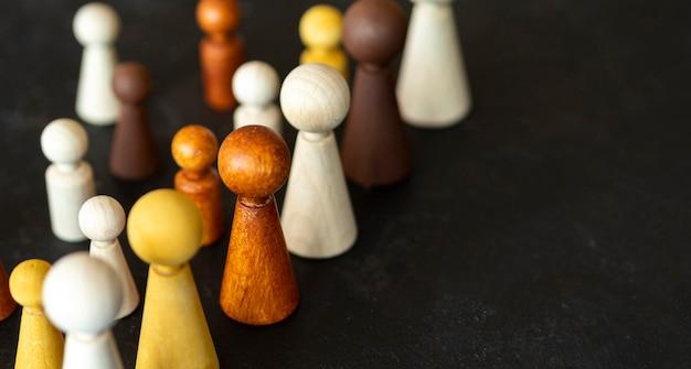 コピースペースとチェスの木製作品