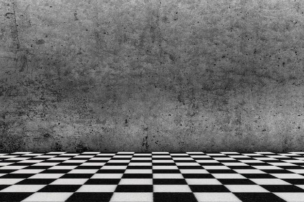 チェス盤風の床とグランジの壁