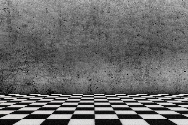 Chessboard style floor and grunge wall