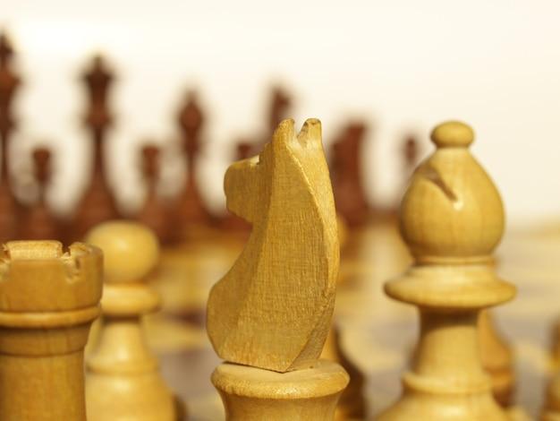 나무 체커가 있는 체스판