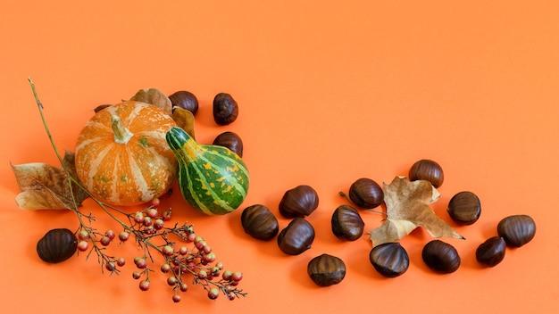 オレンジ色の紙に栗と装飾的なカボチャ、上面図、テキスト用のスペース
