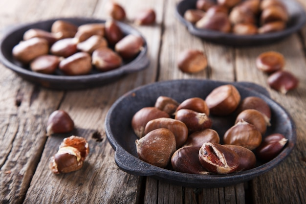 Chestnuts in a cast iron skillet