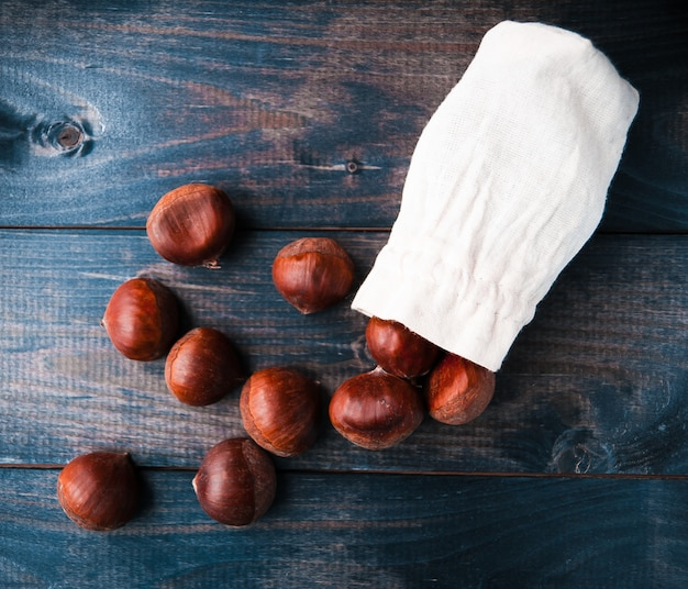 Chestnuts in cotton bag