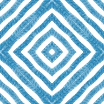 쉐브론 스트라이프 디자인. 파란색 대칭 만화경 배경입니다. 섬유 준비 섬세한 인쇄, 수영복 직물, 벽지, 포장. 기하학적 쉐브론 줄무늬 패턴입니다.