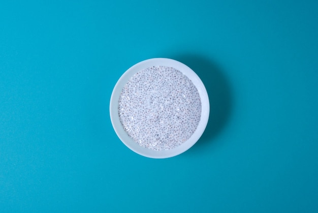 Chia pudding in a white circle plate, top view