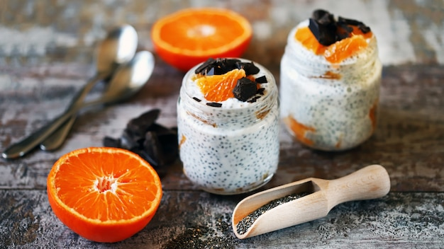 Chia pudding with chocolate and fruit. healthy breakfast or snack. keto diet. keto dessert.
