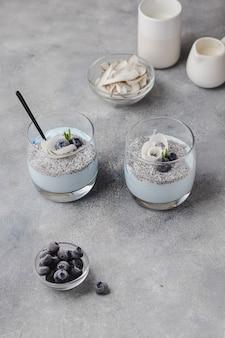 ココナッツミルク、ラズベリー、ローズマリー、ココナッツチップス、ブルースピルリナを使ったチアプリン