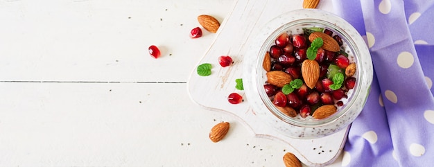 Chia pudding with fresh berries in glass jar.  banner.