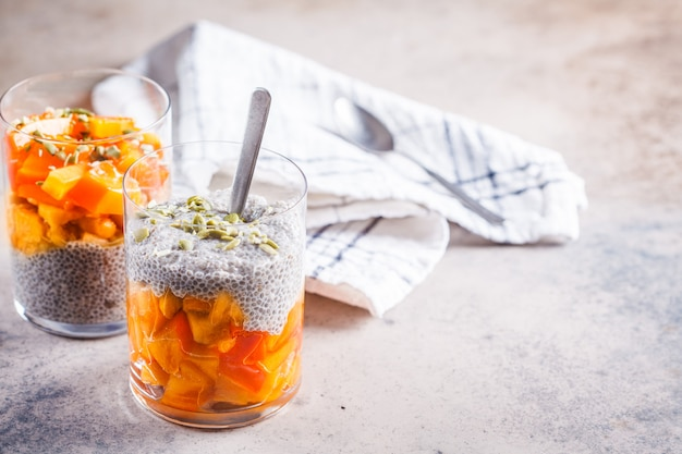 Chia pudding with persimmon and pumpkin seeds in glasses, gray background, copy space. vegan food concept.