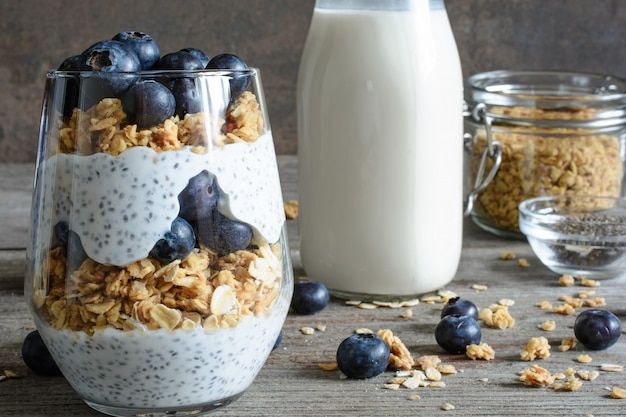 Chia pudding or yogurt parfait with blueberries, granola and chia seeds