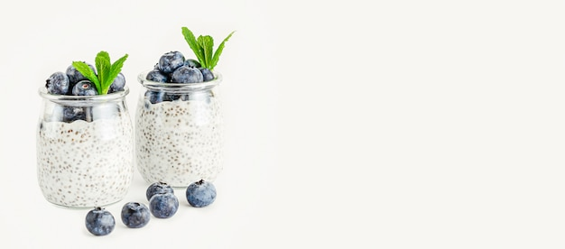 Chia seed yogurt pudding with blueberries. clean eating and superfoods concept. baneer, copy space