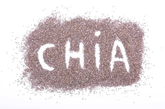 白いスーパーフードの栄養補助食品で分離されたチアシード