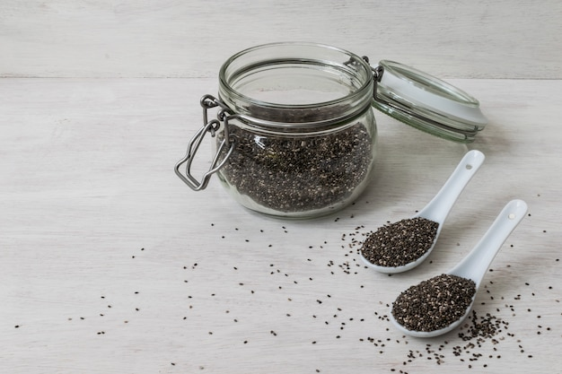 Chia seeds and spoons