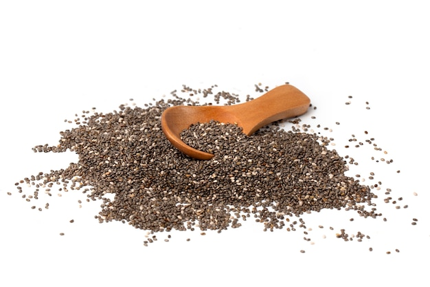 Chia seeds with a wooden spoon on a white background.