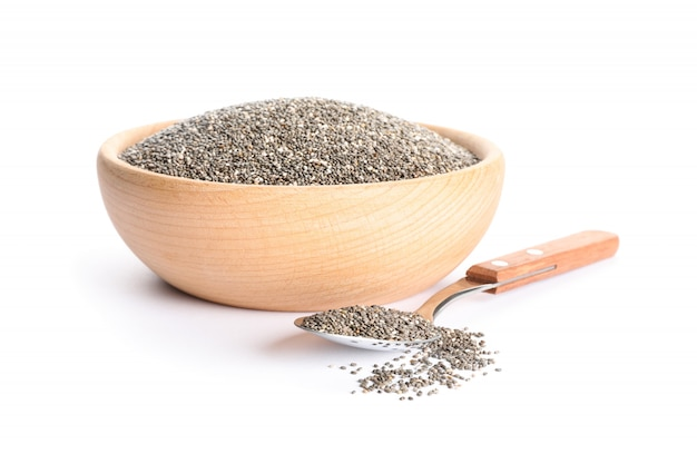 Chia seeds in wooden bowl and spoon isolated on white