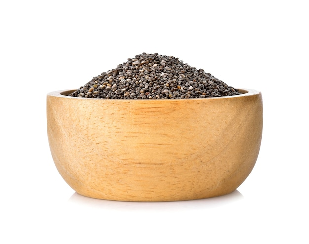 Chia seeds in a wooden bowl