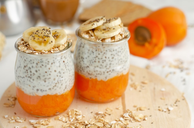 Chia yogurt pudding with apricot and banana.