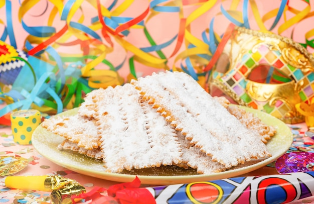 Chiacchiere or cenci, typical italian dessert for carnival.
