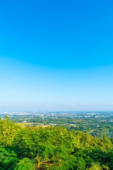Chiang mai city skyline with blue sky in thailand