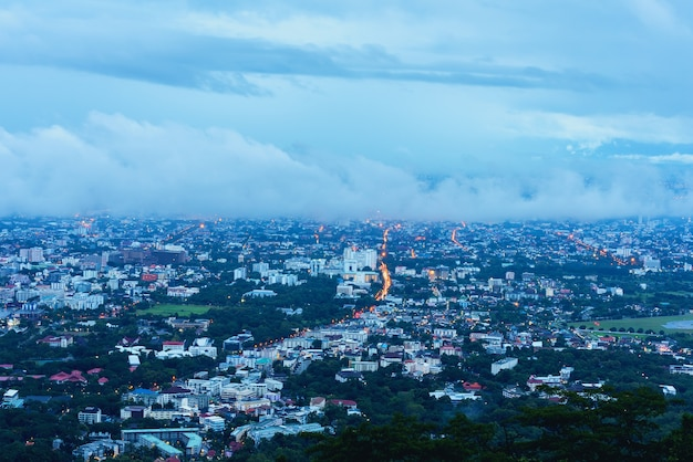 Chiang mai the old city  view from high angle spot