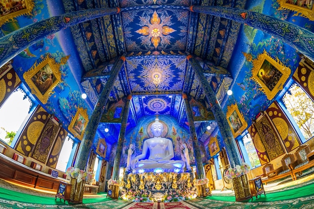 Chiang rai, thailand - february 24, 2018: wat rong sua ten or blue temple in chiang rai province, thailand.