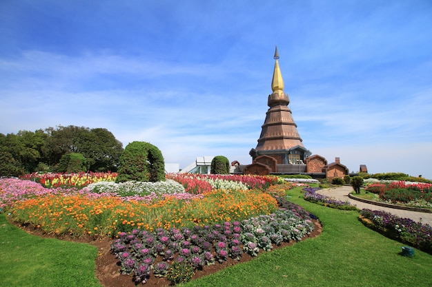 Chiangmai famous place the beautiful pagoda on the top of inthanon mountain under blue sky