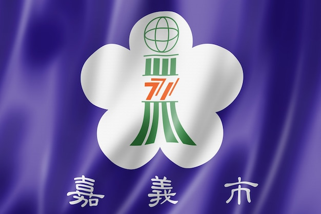 Chiayi city flag, china waving banner collection. 3d illustration