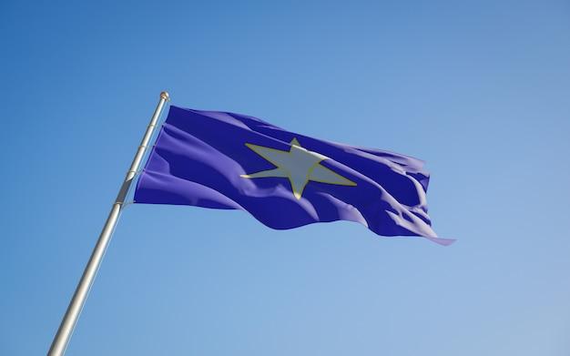 Низкий угол флага префектуры тиба япония. 3d изображение