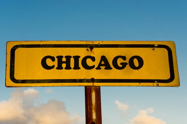Chicago city old yellow sign with blue sky