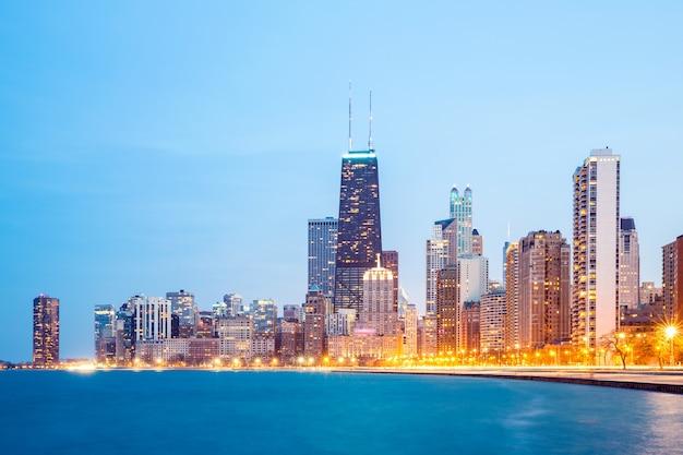 시카고 시내와 미시간 호수