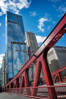Chicago downtown and chicago bridge and riverside